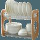 家逸 碗筷沥水架厨房放碗架水槽碗碟架收纳架杯子架子置物架(原木色碗碟架 默认)