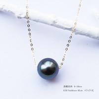 PearlYuumi 大溪地黑珍珠 9-10㎜路路通 18K金调节针款