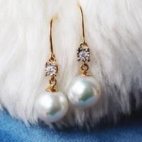 PearlYuumi K18 日本akoya珍珠钻石耳环珍珠礼品