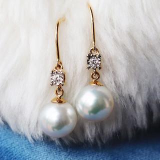PearlYuumi 優美珍珠 K18 akoya珍珠钻石耳环 7.5-8mm
