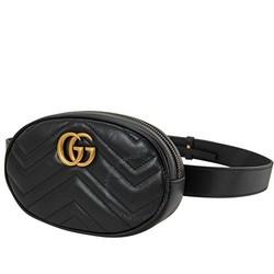 GUCCI 古驰 Ladies GG Marmont 黑色腰包