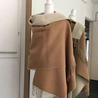 NUDEE UGG 澳洲羊毛纯色流苏围巾大披肩