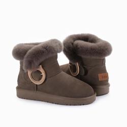 OZWEAR UGG 兔毛领金属扣 雪地靴
