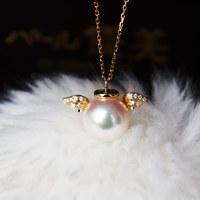 PearlYuumi 優美珍珠 K18 Akoya珍珠8.5-9mm 钻石项链天使款