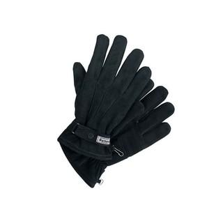Barbour 黑色男士皮革细纹手套