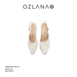 OZLANA 立体抽褶花朵裸跟鞋