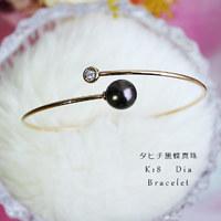 PearlYuumi 優美珍珠 K18YG大溪地黑蝴蝶珍珠9-10mm 钻石手镯