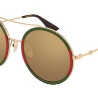Gucci 古驰 GG0061S-012 女士圆形红绿搭配太阳镜