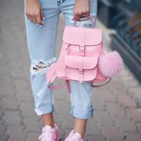 GRAFEA 粉色真皮双肩包