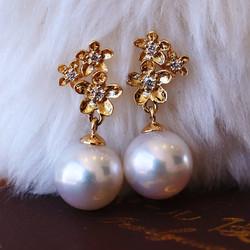 PearlYuumi 優美珍珠 K18 akoya珍珠小金花钻石耳钉