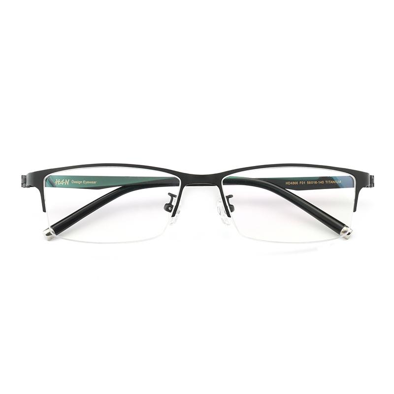 HAN 汉 HD4866 纯钛半框眼镜框架 + 依视路 睛智轻蓝1.60镜片 +凑单品