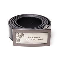 银联专享:Versace范思哲精选男士复古Logo皮革腰带 - 黑色