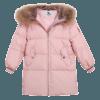 鸭鸭女童中款款羽绒服粉萌保暖外套200克加厚款 328元包邮(需用券)
